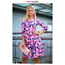 58cc829518 Mystic Day sötétkék alapon rózsaszín virágmintás A-vonalú alakformáló ruha