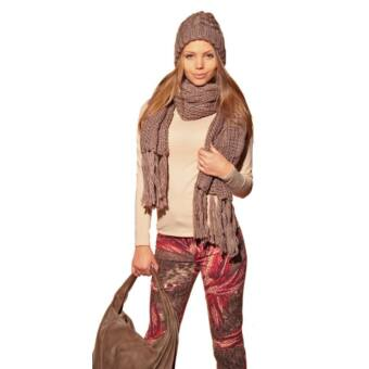 Bella Mode világosbarna kötött sapka