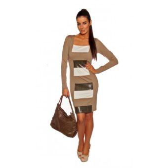Bella Mode alakformáló hosszú ujjú ruha bézs-fehér-fekete színben