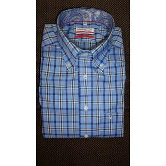 Marvelis kék kockás karcsúsított férfi ing