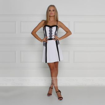 Envy fekete - fehér vékony pántos A-vonalú ruha