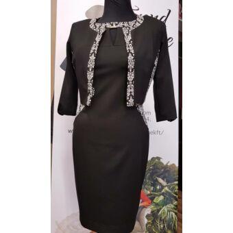 Mystic Day fekete alapon fehér virágmintás alakformáló ruha boleroval