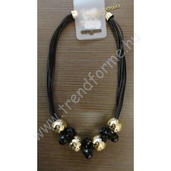 Arany - fekete medálos nyaklánc