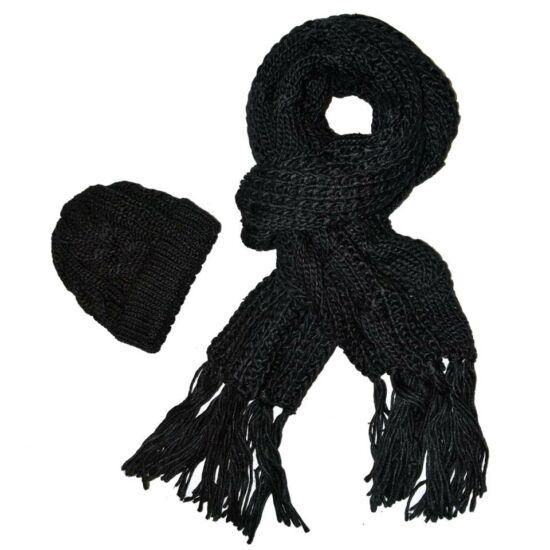 Bella Mode fekete kötött sapka és sál