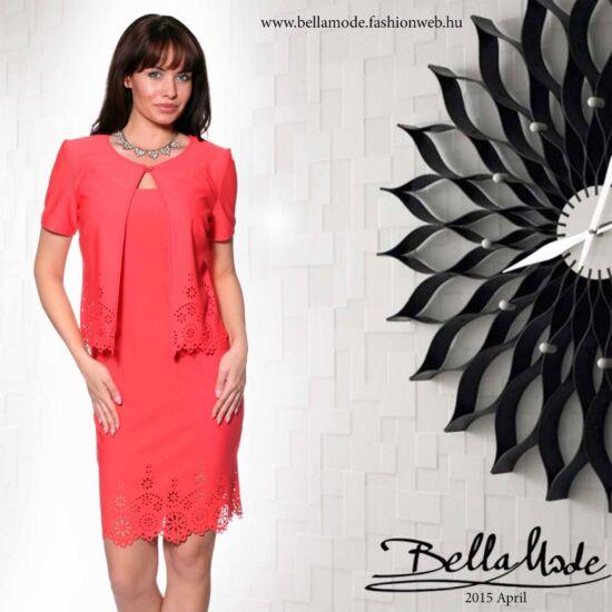 Bella Mode lazac színű lézervágott ruha boleróval