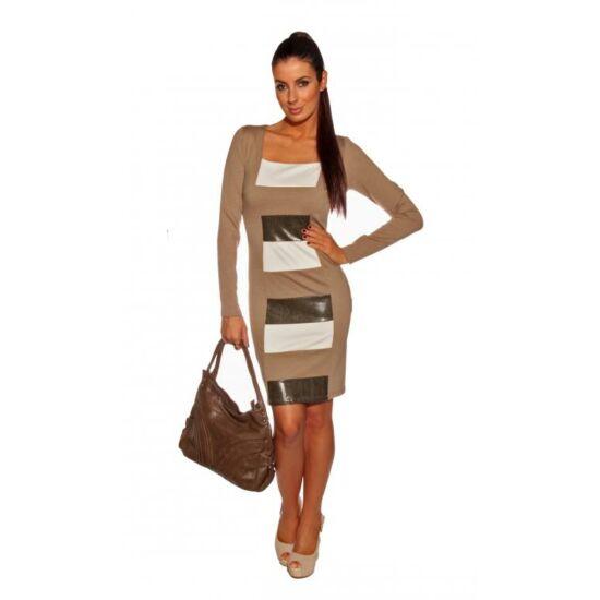 Bella Mode alakformáló hosszú ujjú ruha bézs-fehér-fekete színben 47b2eac2eb