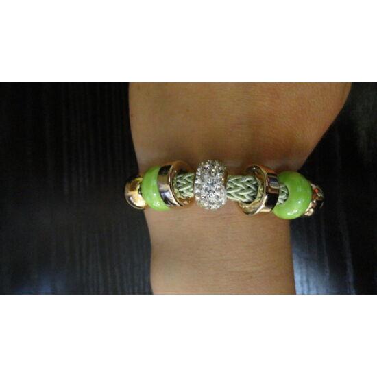 Zöld - arany - ezüst köves karkötő