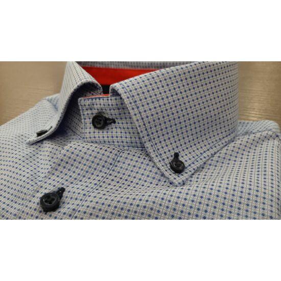Vasalásmentes férfi ing világoskék alapon kék mintás