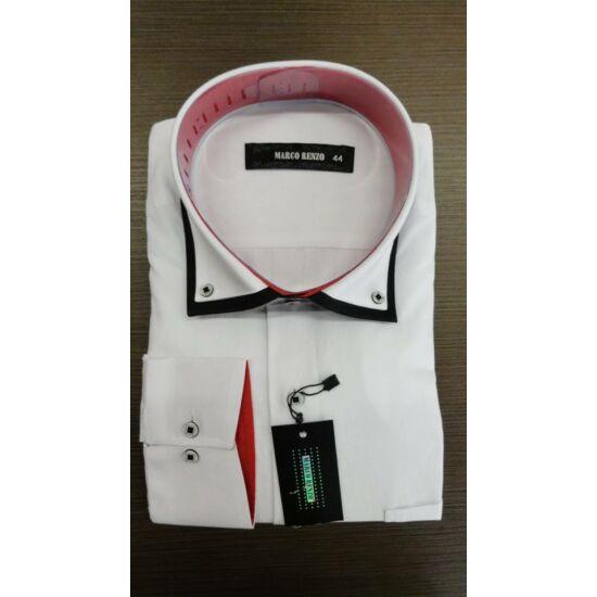 Marco Renzo fehér férfi ing piros - fekete díszítéssel normál