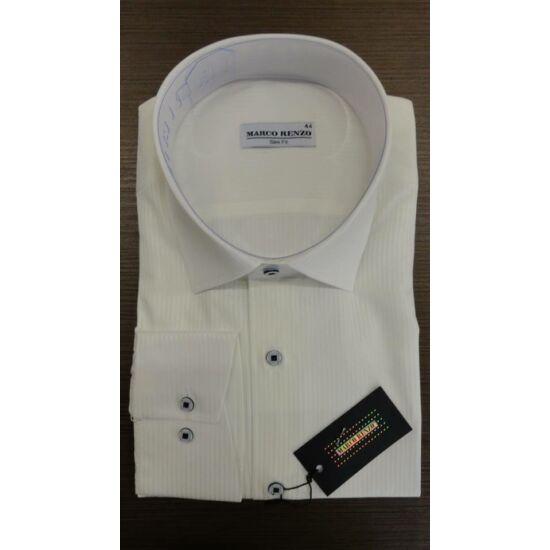 Marco Renzo vajszínű magában csíkos Slim Fit férfi ing