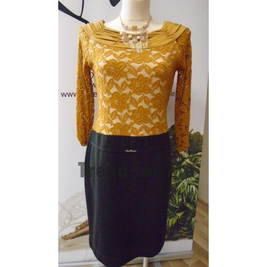 Mya mustár csipkés alakformáló ruha