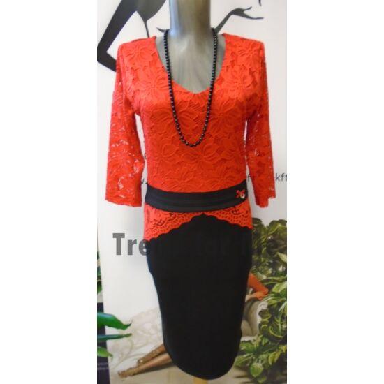 Mya fekete - piros csipkés alakformáló ruha