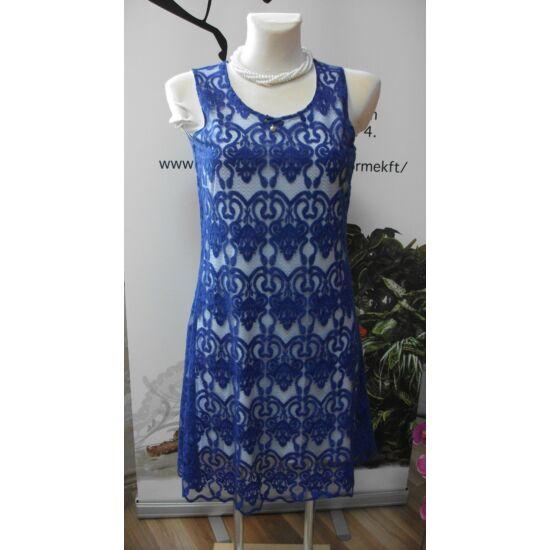 Mya fehér alapon kék csipkés alakformáló ruha