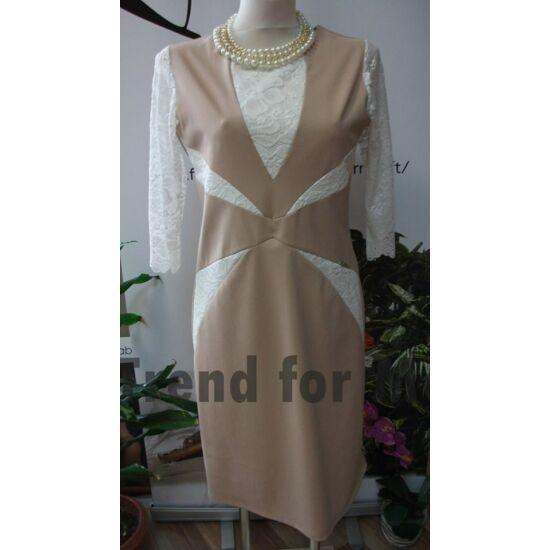 Mya bézs alakformáló ruha csipke betéttel