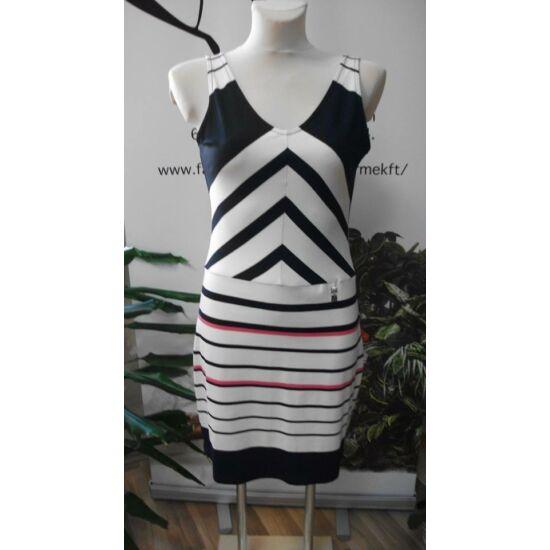 Mya sötétkék - fehér - rózsaszín mintás pamutos ruha