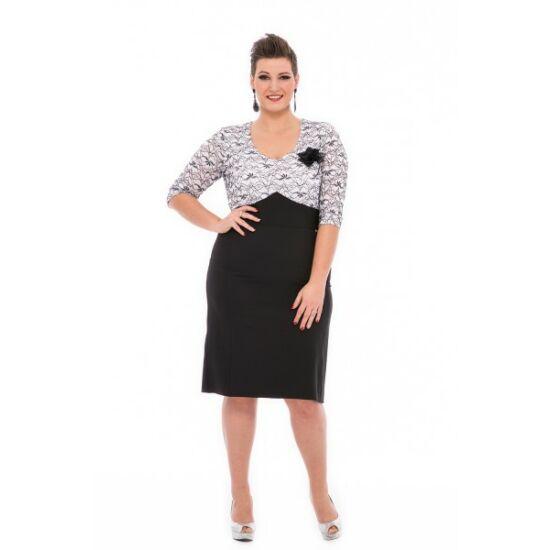 Sylverro alakformáló csipkés tetejű fekete - fehér ruha