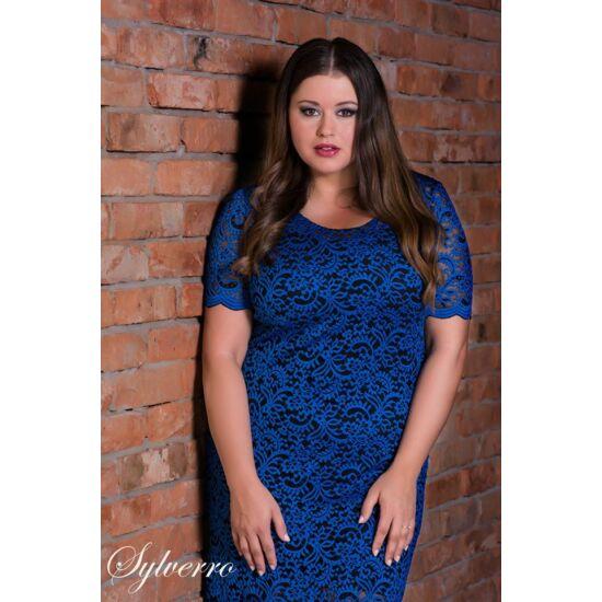 Sylverro kék csipkés plus size alkalmi ruha