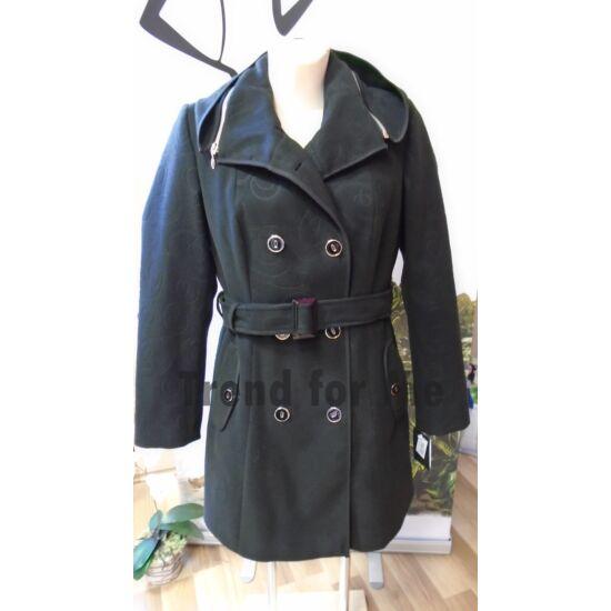 Szöszy Rayon nyomott kombi kapucnis kabát fekete