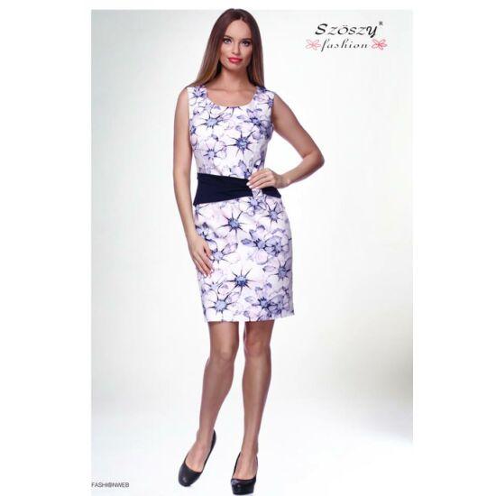 Szöszy púder - lila virágmintás alakformáló vászon ruha