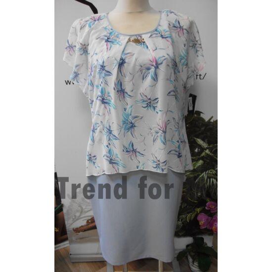 Szöszy muszlin rátétes virágmintás alakformáló ruha
