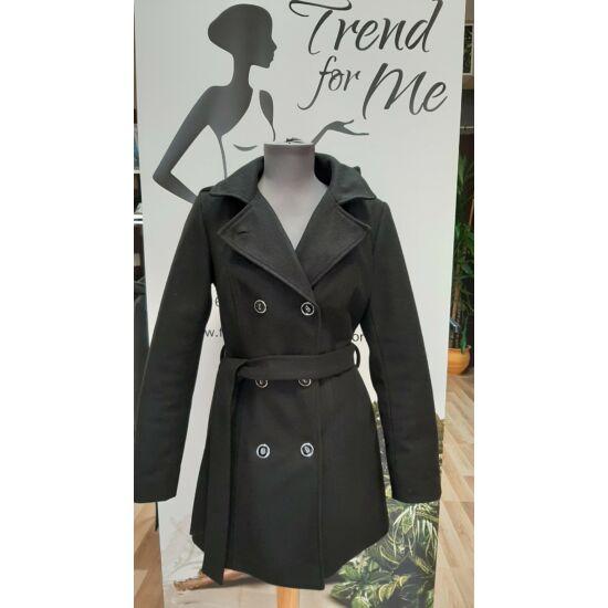 Szöszy fekete karcsúsított öves kapucnis kabát