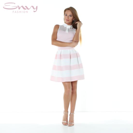 Envy A-vonalú púder-fehér csíkos necc betétes ruha nyakán masnival