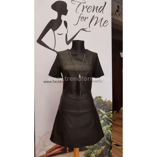 Envy fekete nyomott mintás bőr hatású ruha