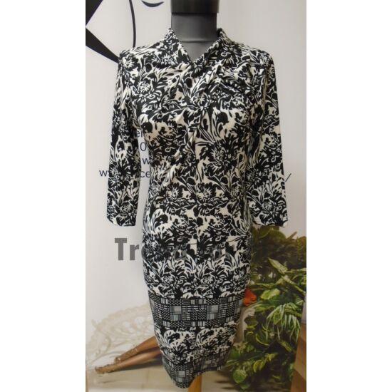 Envy fekete - fehér csavart nyakú ruha