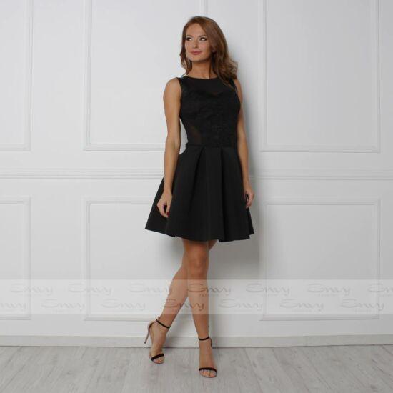 """Envy fekete csipkebetétes A-vonalú ruha alja """"szivacsos"""" jellegű anyagból"""