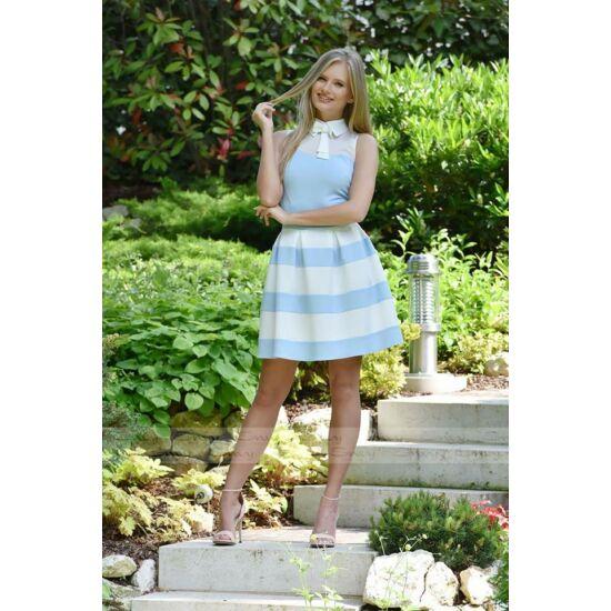 Envy A-vonalú kék-fehér csíkos necc betétes ruha nyakán masnival