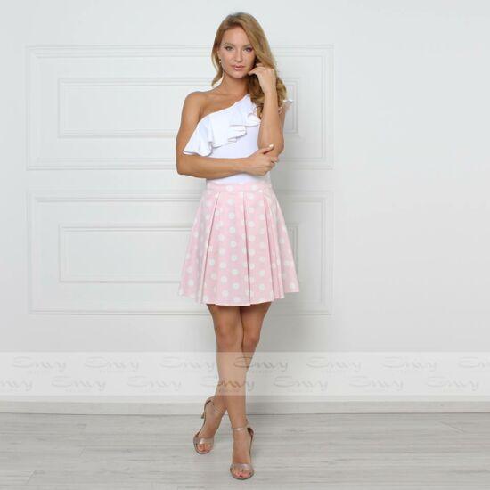 Envy rózsaszín alapon fehér pöttyös szabott szoknya