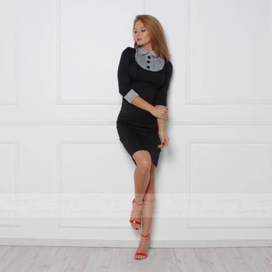 Envy fekete  galléros 3 gombos ruha
