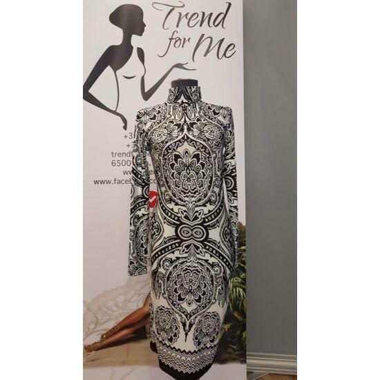Envy hosszú ujjú garbós fekete - fehér mintás ruha