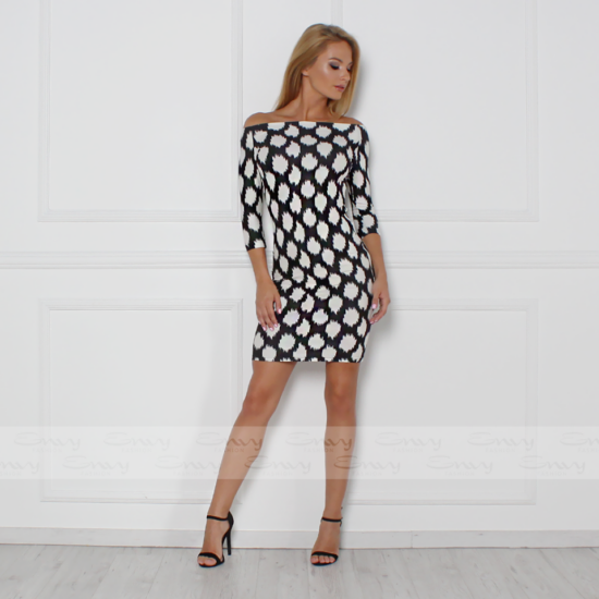 Envy T-vállú fekete - fehér mintás ruha