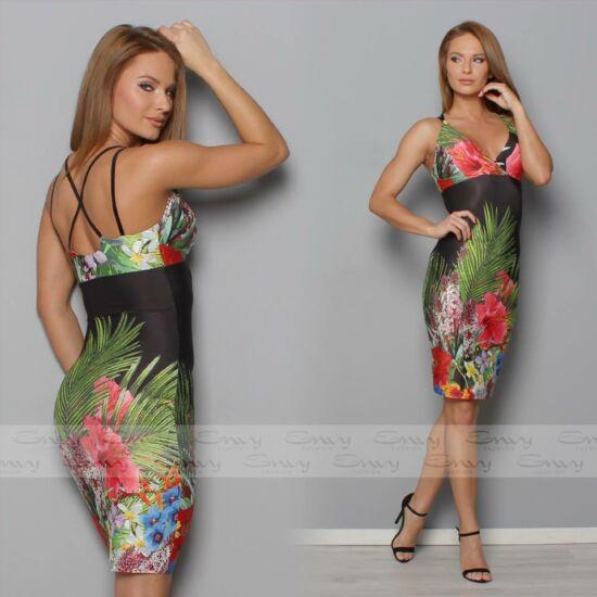 Envy virágmintás hátán X-pántos ruha