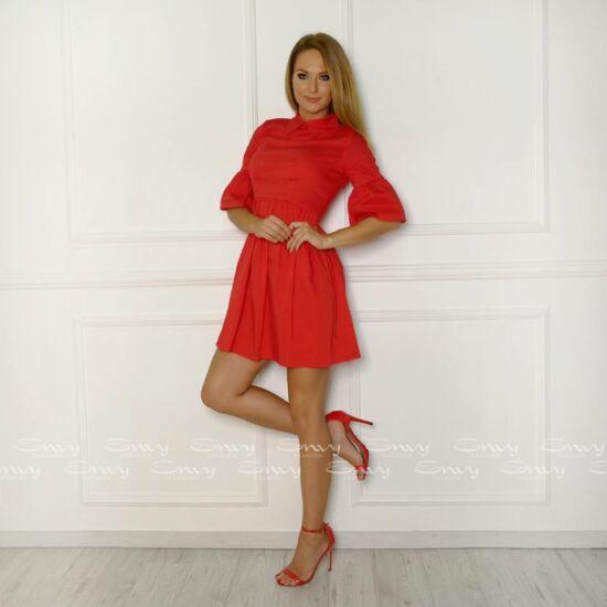 Envy piros tölcsér ujjú vászon ruha