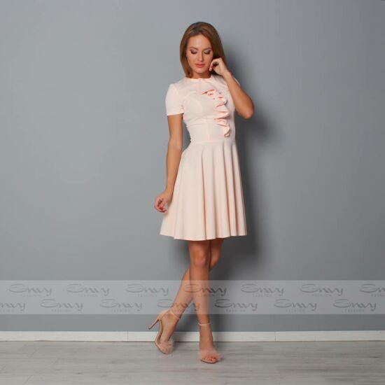 Envy púder A-vonalú ruha mell részén fodorral