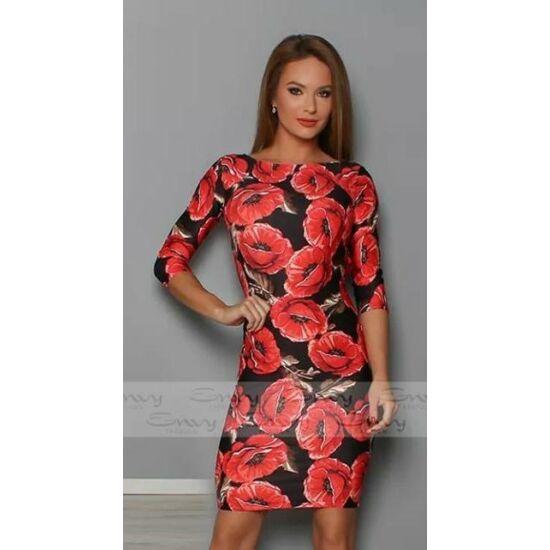 Envy piros virágmintás T-vállú ruha