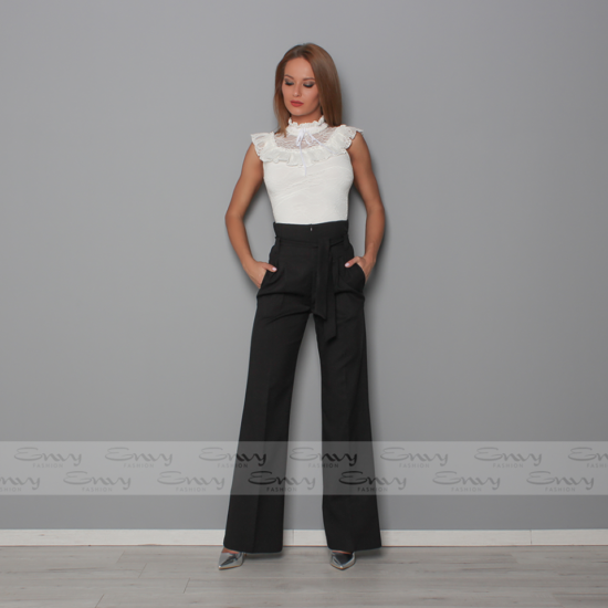 Envy fekete zsebes magas derekú nadrág