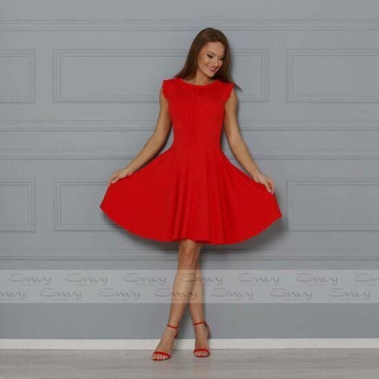 Envy piros A-vonalú ruha fodorka díszítéssel