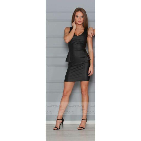 Envy fekete bőrhatású peplumos ruha