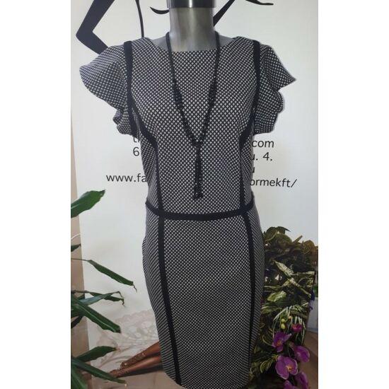 76a9e6b69b Envy fekete - fehér mintás vállán fodros ruha