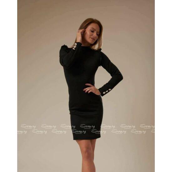 Envy fekete magas nyakú gombos díszítésű ruha