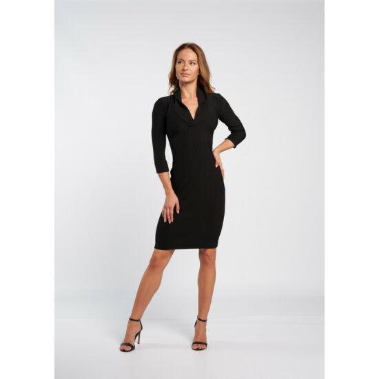 Envy fekete sálgalléros kötött bordás anyagú ruha