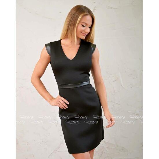 Envy fekete V-kivágott szivacs anyagú ruha