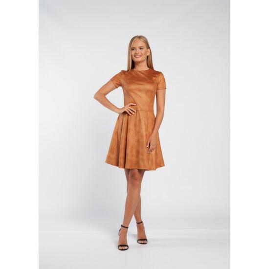 Envy mogyorószínű velúr A-vonalú zsebes ruha