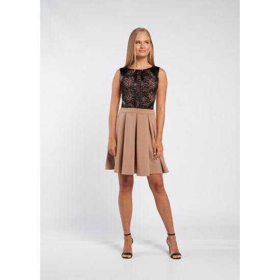 Envy barna fekete bőrrel díszített csipkebetétes ruha
