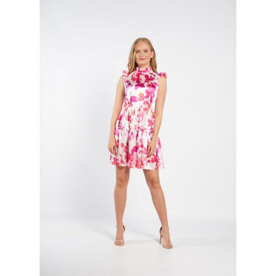 Envy fodros pink levél mintás szatén ruha