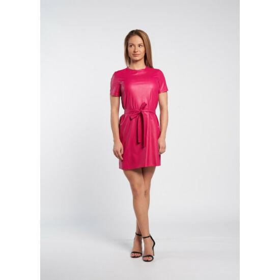 Envy pink műbőr megkötős tunika ruha