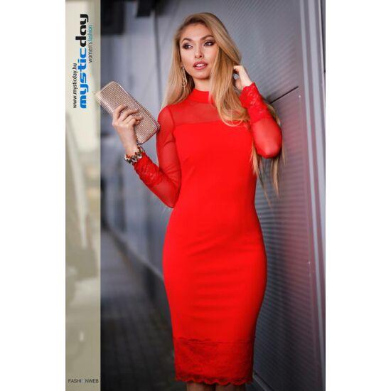 Mystic Day piros necces ujjú alakformáló ruha